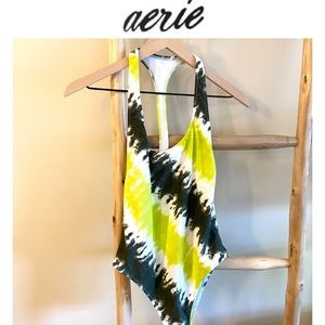 S Aerie Tie DyeOne Piece Swimsuit Lime Green